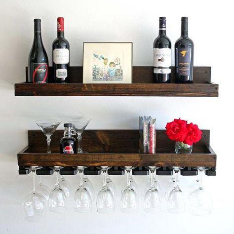 Wine Rack Wooden Wall Mount Storage