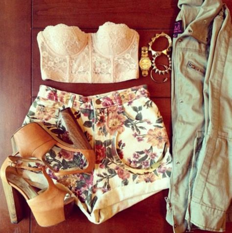 shirt high waisted short flowered shorts corset top high heels shoes shorts jewels floral shorts lace coat military jacket bracelets gold braclet gold watch jacket blouse tank top flowers pretty t-shirt high heeled sandals nude sandals tanned lace crop top jewelry crop tops white nice strapless crop tops jumpsuit jean jacket