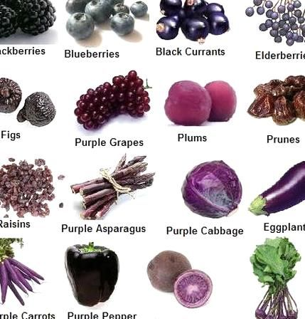 Blue Violet And Indigo Foods Have Tons Of Antioxidants Some Blue And Purple Fruits And Vegetables Are Also Really High Purple Food Purple Vegetables Fruit List