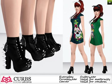 Boots with spikes set for girls and adults. Found in TSR Category 'Sims 3 Female Clothing Sets'