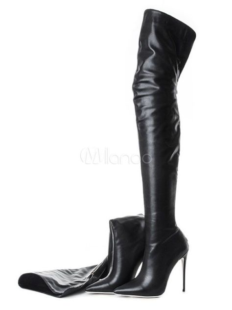 Black Over Knee Boots High Heel Boots Pointed Toe Zip Up Thigh High Boots #Woodcrafts