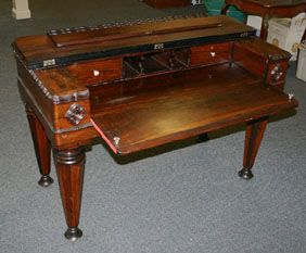 Spinet Desk With Ornate Carved Trim Late 19th C First Class Letter Writing Pinterest Antique Auctions Desks And Commercial