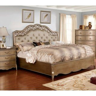 Daphne Traditional Brushed Gold Tufted Bed By Foa Queen