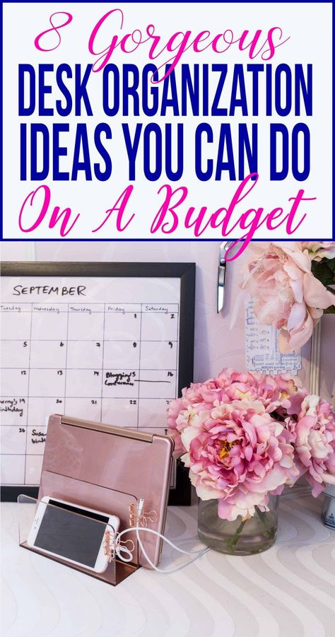 These desk organization hacks are AWESOME! They will definitely help to get my home office desk organized and I will even use some of them for my work desk, too! Love the rose gold office supplies. Organisation Hacks, Office Desk Organization, Organizing Hacks, Desk Hacks, Craft Organization, Organizing Office Supplies, Craft Storage, Ikea Hacks, Storage Ideas