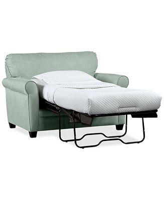Kaleigh Fabric Sleeper Chair Bed Storage Ottoman Set Custom