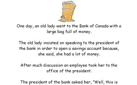 One Day An Old Lady Went To The Bank Of Canada With A Large Bag Full Of Money The Old Lady In Silly Jokes Funny Inspirational Quotes Inspirational Quotes God