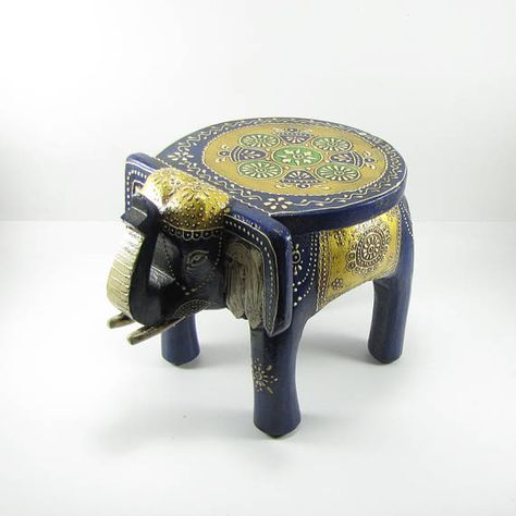 Pleasing Elephant Wooden Painted Small Stool India Elephant Art Gmtry Best Dining Table And Chair Ideas Images Gmtryco