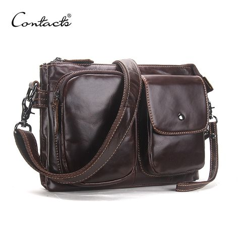 d8022eaaeb CONTACT S Vintage Men Messenger Bags High Quality Soft Genuine Leather  Large Capacity Travel Men Bags Dollar Price Handsome Man