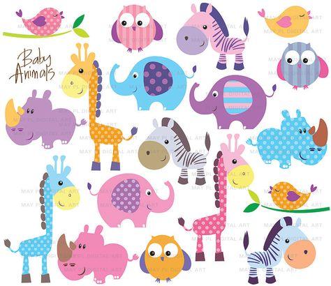 Safari Jungle Animals Clipart Cute Baby Zoo Animals Includes Etsy Free Clip Art Baby Zoo Animals Animal Clipart Free