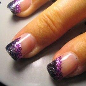 Angled Gradient Glitter Tips