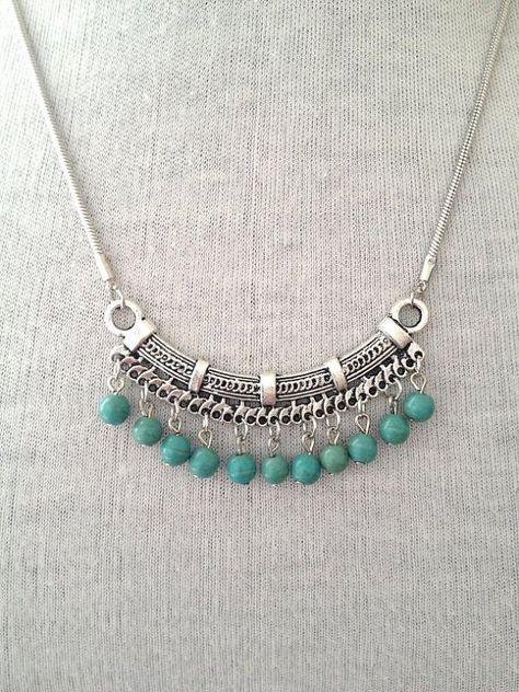 Silver Turquoise Necklace Boho  Jewelry UK boho by BohoYogaJewelry
