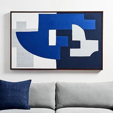 Pieced Fabric Wall Art Blue Fabric Wall Art Fabric Wall Tapestry Wall Art
