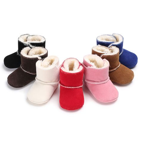 Little Kids Stylish Winter Warm First Walkers Boots for Toddler Newborn Baby Girls Boys Anti-Slip Rubber Sole Crib Shoes