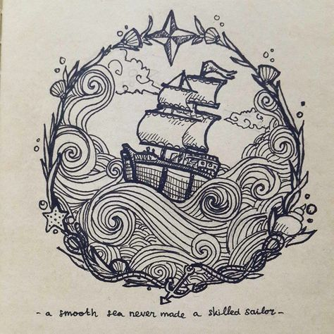 idée tattoo ミ design illustration drawing art ink navure bateau boat sea mer oceanic marine / a smooth sea never made a skilled sailor by Yokholius Nugroho - Drawing All Drawing Doodle Drawing, Doodle Art, Painting & Drawing, Drawing Drawing, Symbol Tattoos, Body Art Tattoos, Maritime Tattoo, Art Sketches, Art Drawings