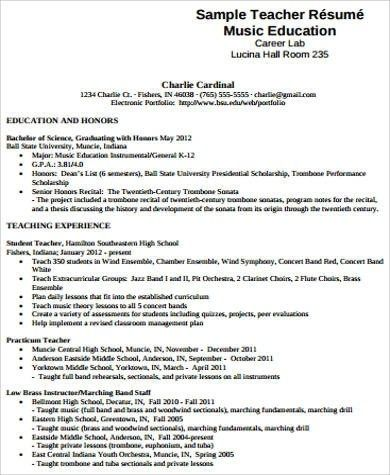 Free 7 Sample Music Resume Templates In Ms Word Pdf Teacher Resume Teacher Resume Examples Teacher Cv Template