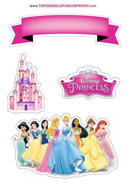 Topper De Bolo Princesas Aniversario Com Tema De Princesa Disney