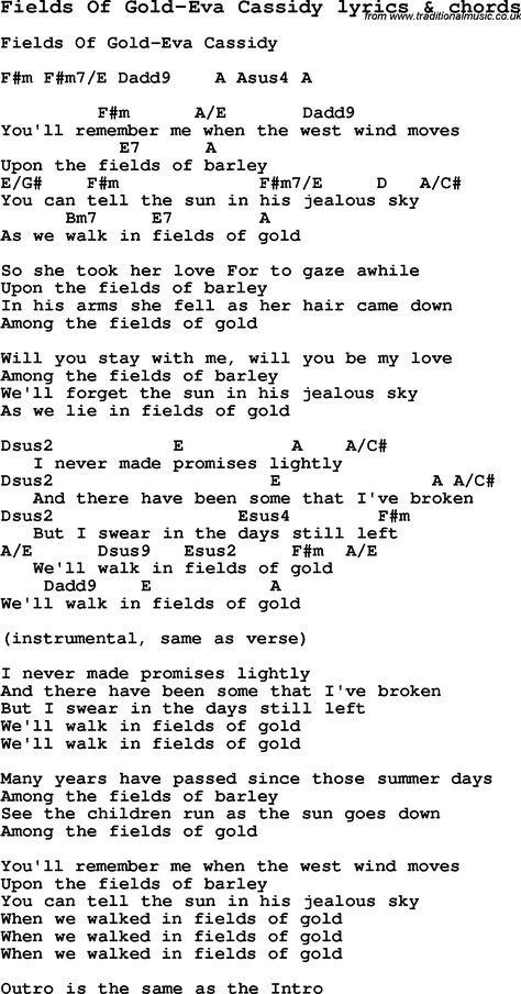 Love Song Lyrics For Fields Of Gold Eva Cassidy With Chords
