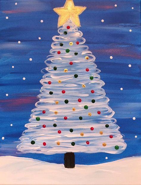 Acrylics On Canvas 16 X 20 X 5 Hand Painted Finished Outside Edges Shiny Gloss Sea Christmas Tree Painting Christmas Canvas Christmas Paintings On Canvas