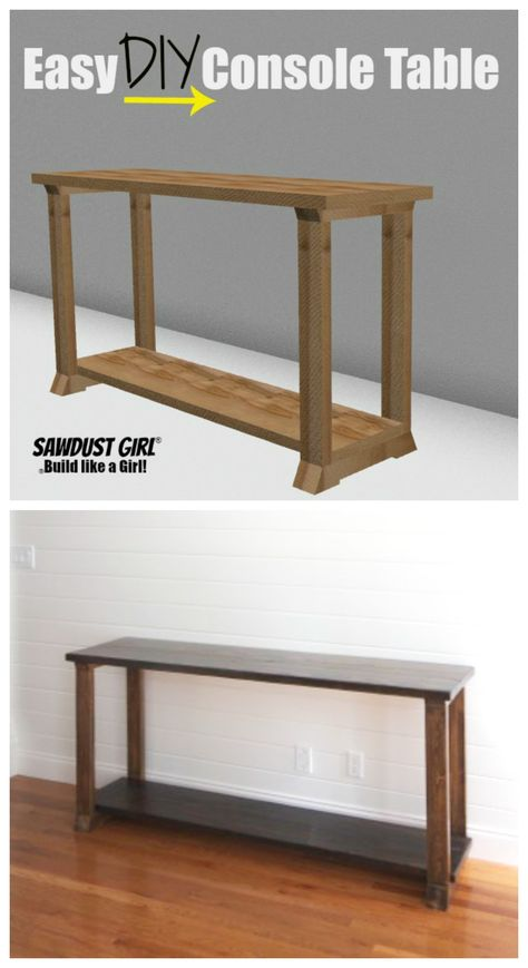 Two-Tone wood console table. #Wood #Table #Console #DIY #FreePlans
