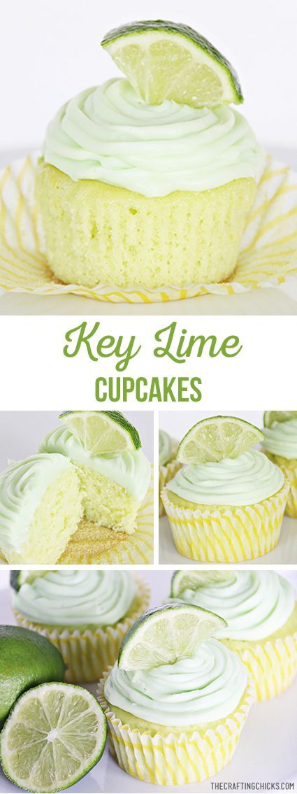 Easy Key Lime Cupcakes start out as a basic cake mix, but a few extras make it a delicious recipe! Key Lime Desserts, Köstliche Desserts, Delicious Desserts, Dessert Recipes, Plated Desserts, Cupcake Recipes Easy, Wedding Cupcake Recipes, French Desserts, Food Cakes