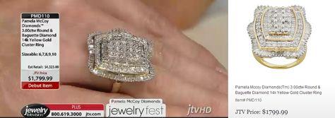PMD110 Pamela Mccoy Diamonds(Tm) 3.00ctw Round & Baguette Diamond 14k Yellow Gold Cluster Ring ERV: $4,323.00 JTV Price: $1799.99