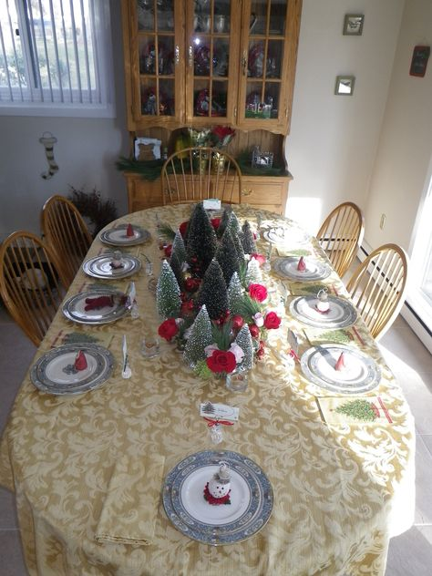 Christmas table setting, (complete with guest ornament gifts on their plates) PHOTO 2 of 2