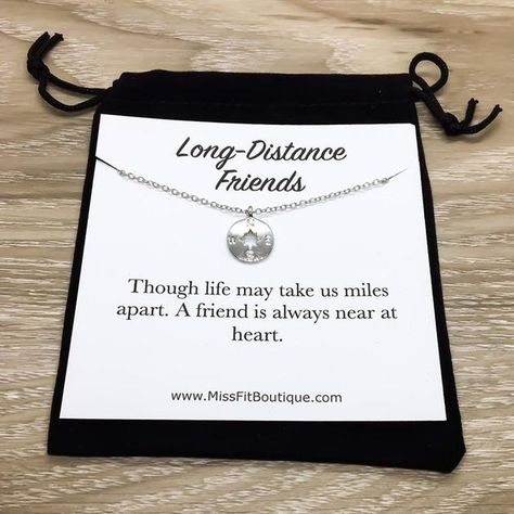 Long Distance Friends Gift Dainty Gold Compass Necklace Friendship Best Jewelry