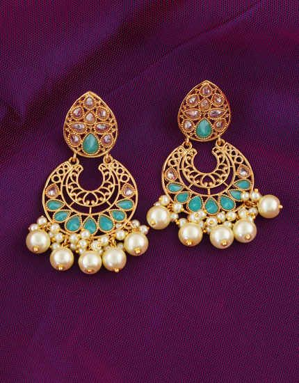 Anuradha Art jewellery Gold-Blue Colour Wonderful Studded With Kundan Designer Traditional Earrings For Women//Girls