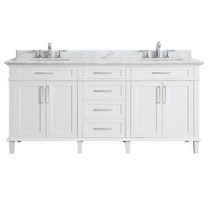 Avanity Madison 73 In W X 22 In D X 35 In H Vanity In White With Marble Vanity Top In Carrera White With White Basin