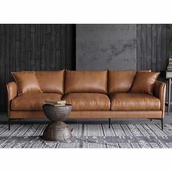 Misha Tan Top Grain Leather Sofa Top Grain Leather Sofa Tan Leather Sofas Leather Sofa