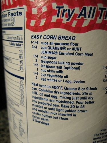 Cornbread Recipe Off The Back Of The Quaker Yellow Cornmeal Container My Favorite Corn Bread Recipe Cornmeal Cornbread Quaker Cornbread Recipe