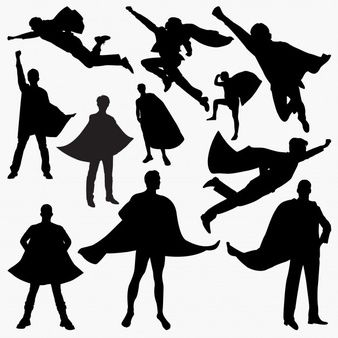 Superhero Silhouettes In 2020 Superhero Silhouette Silhouette Vector Shadow Painting