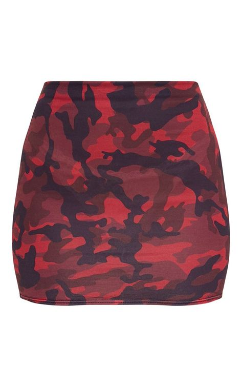 The Red Camo Print Mini Skirt.