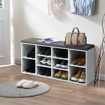 Latitude Run Entryway Padded 10 Pair Shoe Storage Bench Finish White In 2020 Bench With Shoe Storage Shoe Storage Bench White Bedroom Storage Cabinets