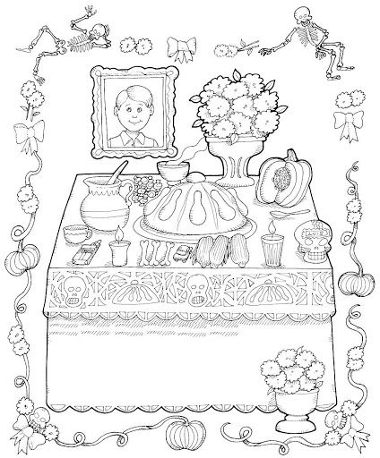 Dia De Los Muertos Coloring Pages Day of the Dead Altar, free - copy dia de los muertos mask coloring pages