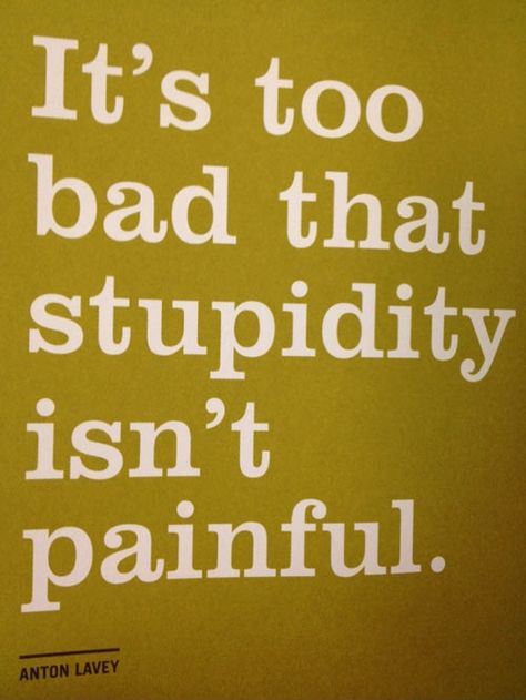 It's too bad that stupidity isn't painful. Such a shame.