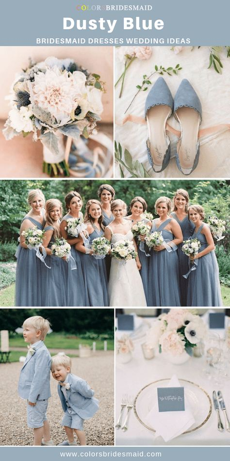 Dusty Blue Bridesmaid Dresses Dusty blue bridesmaid dresses long, good to pair with white bridal gown, dusty blue wedding shoes, table decorations and pale pink flowers.