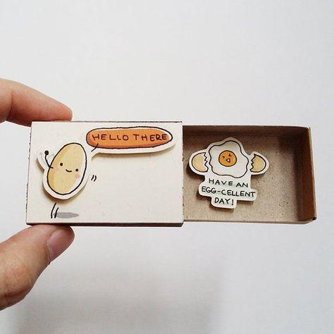 "Fun Encouragement Card Matchbox - Cute Egg Greeting Card - Gift box - ""hello there"" - ""Have an egg-c"
