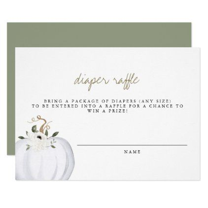 Tera 2020 Halloween Pumpkin Tera   Boho Greenery Gold Diaper Raffle Ticket Invitation | Zazzle