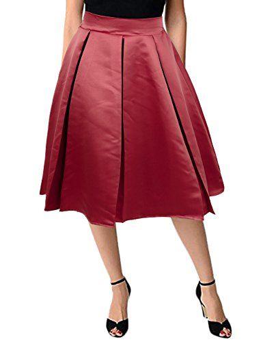 75119cf8cd8c9 KASCLINO Women's Midi Skirt Elastic High Waisted A-line Pleat Skater ...