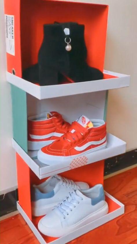 DIY Shoe Rack by Shoe Boxes