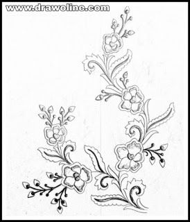 Latest Embroidery Flowers Designs Sketch On Tracing Paper Flower
