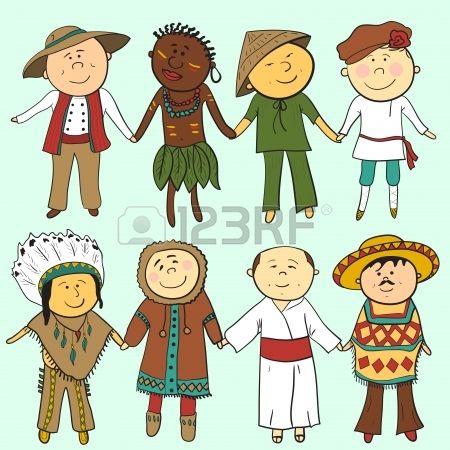 Bambini del fumetto in diversi costumi tradizionali, vector set Archivio Fotografico - 24682982
