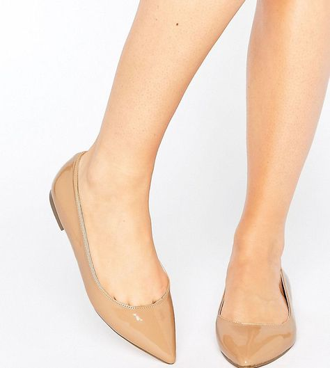 e127347a942f4d ASOS LACEY Wide Fit Pointed Ballet Flats - Beige