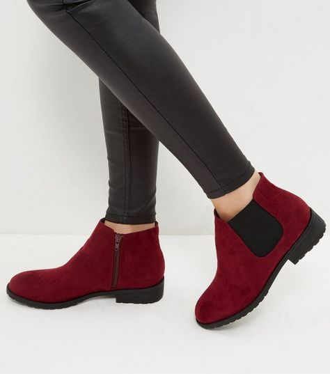 50b7cb57674 Wide Fit Dark Red Suedette Chelsea Boots