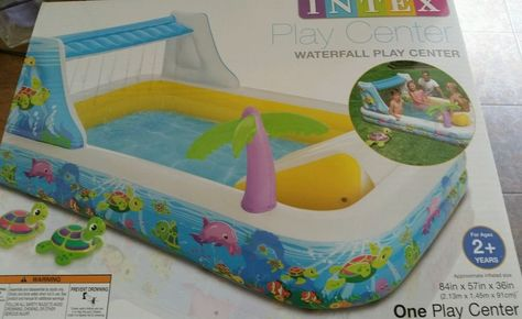 INTEX WATERFALL PLAY CENTER INFLATABLE POOL SLIDE NEW Turtles Swimming Gift…