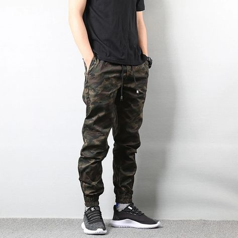 NEW Mens Evolution Washed Faded CAMO Cargo Pants Red with Belt and Ankle Ties