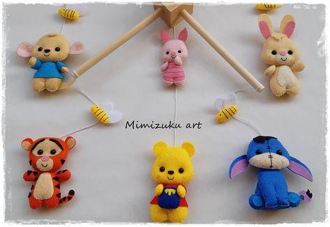 Winnie the pooh mobile felt crib mobile babyroomdecor filz   Etsy