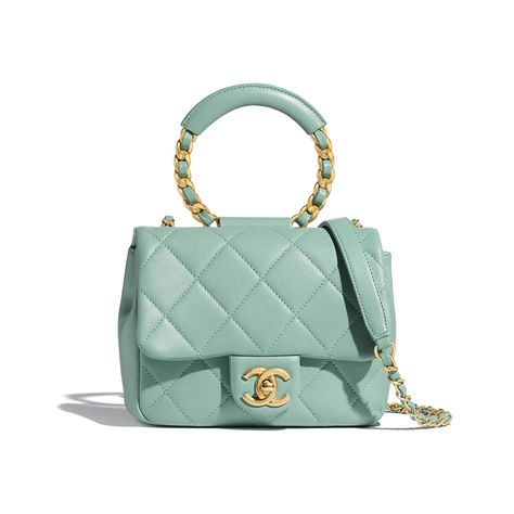 Lambskin Gold Metal Blue Small Flap Bag | CHANEL