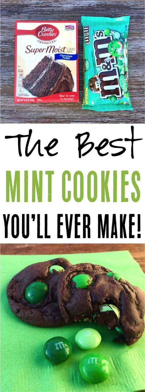 This easy cake mix cookies recipe is the ulti… Easy Dark Chocolate Mint Cookies! This easy cake mix cookies recipe is the ultimate dessert for any occasion! M&m Cookie Recipe, Cake Mix Cookie Recipes, Cake Mix Cookies, Cupcakes, Cookie Desserts, Cookies Et Biscuits, Yummy Cookies, Holiday Cookies, Holiday Baking